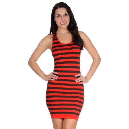 Simplicity Women Striped Summer Mini Tank Dress