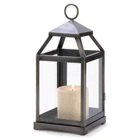 Iron Candle Lantern, Decorative Patio Rustic Silver Metal Candle Lantern Holder (Lantern Candle Holder)