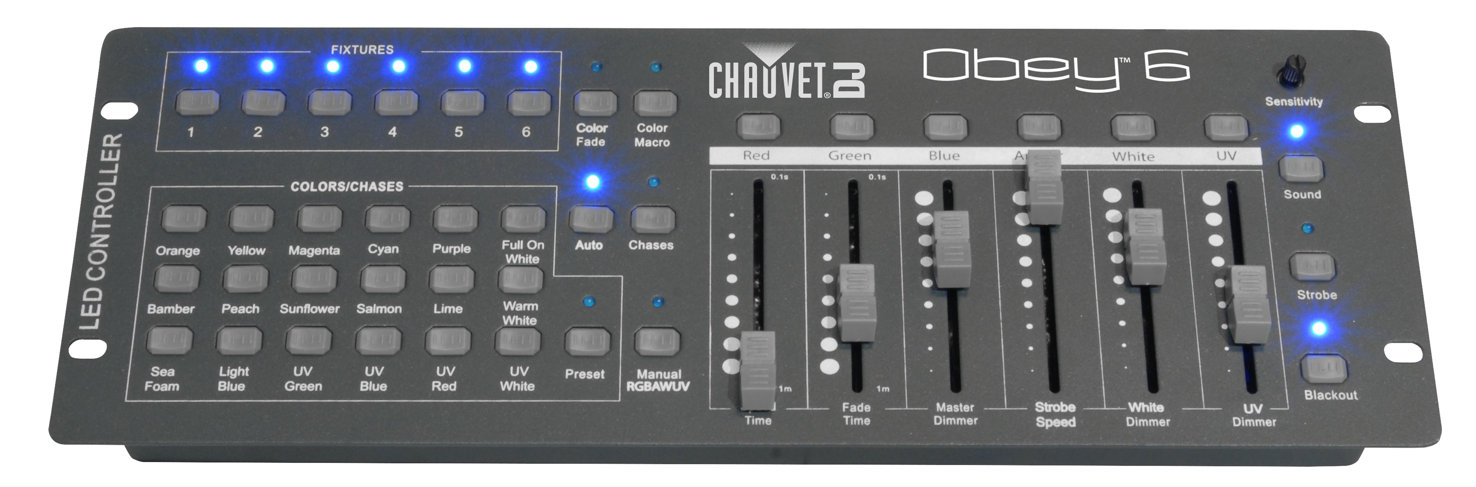 Click here to buy Chauvet OBEY 6 6-Channel DMX Universal DJ Lighting Controller | Up To 6 Fixtures.