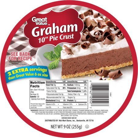 Pie Shell ((3 Pack) Great Value Graham 10