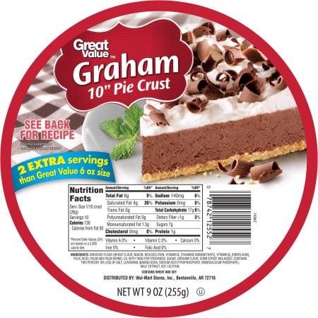 """(3 Pack) Great Value Graham 10"""" Pie Crust, 9 oz"""