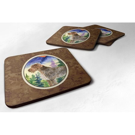 Set of 4 German Wirehaired Pointer Foam Coasters