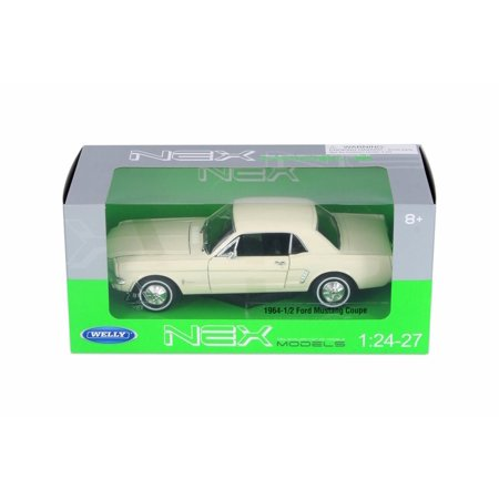 1964 Ford 1/2 Mustang Coupe, Cream - Welly 22451WCM - 1/24 Scale Diecast Model Toy