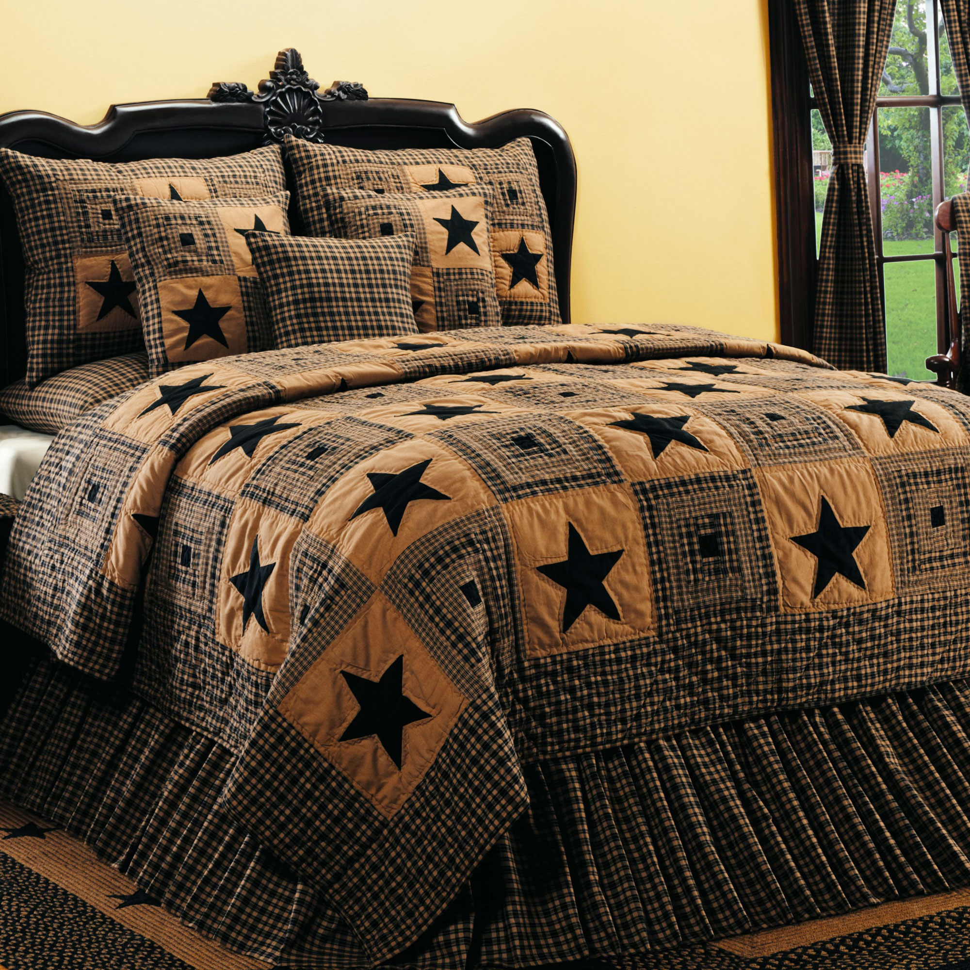 Vintage Star 6 Piece Black Wine Country Quilt Set - Walmart.com : king size country quilts - Adamdwight.com