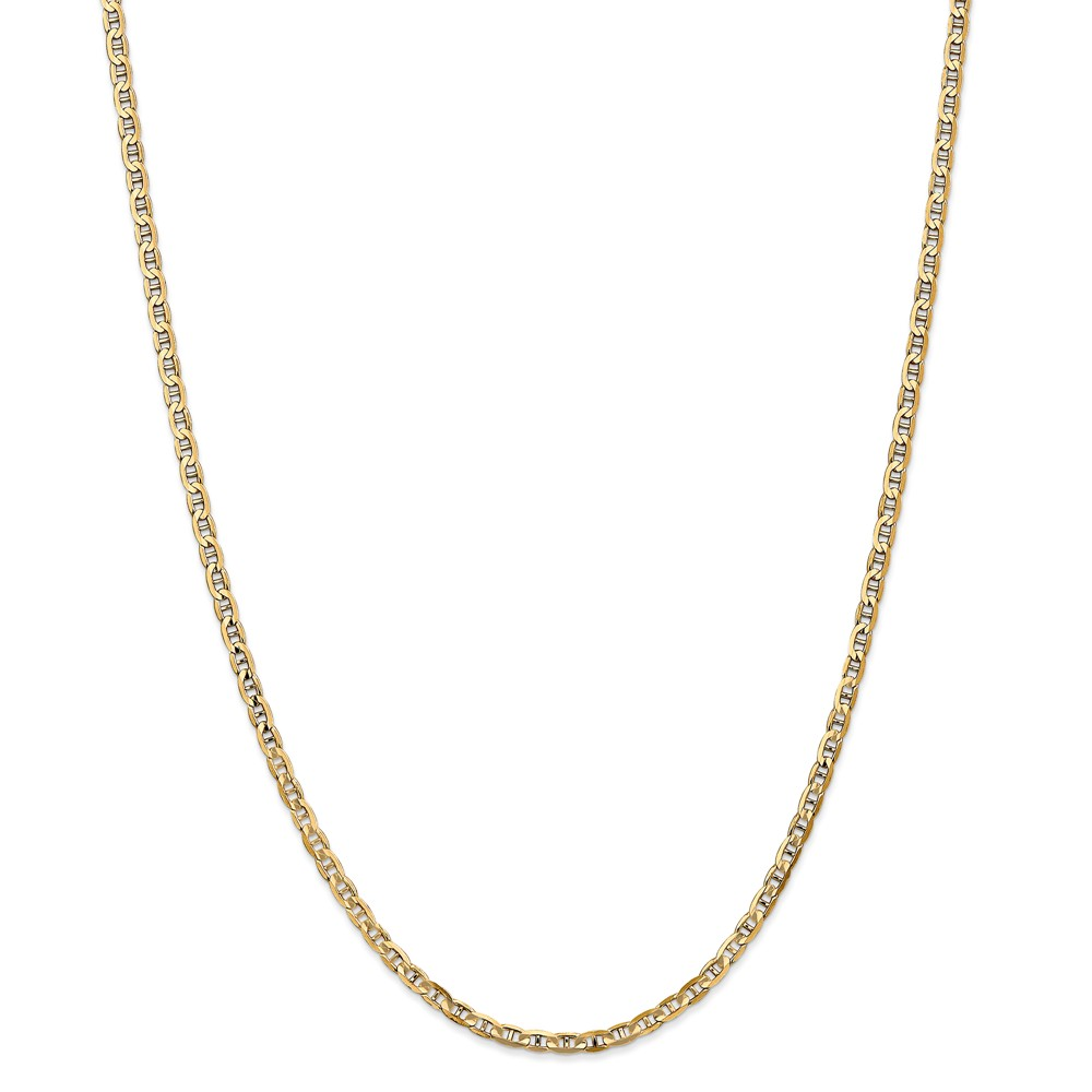 14K Yellow Gold 3mm Concave Anchor Necklace Chain Anklet ...