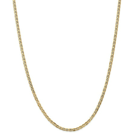 "Solid 14k Yellow Gold 3mm Concave Anchor Mariner Chain Necklace 16"" - with Secure Lobster Lock Clasp"