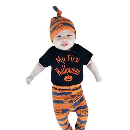 Mosunx New Baby Boys Girls Halloween Pumpkin Romper Jumpsuit+Pants 3Pcs Set Clothes