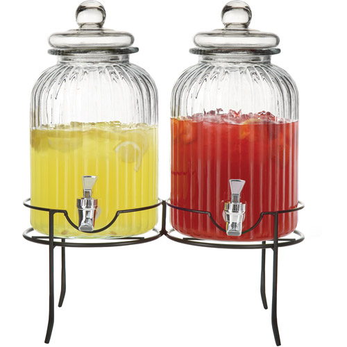 Style Setter Springfield Double Beverage Dispenser with Stand, Clear