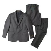 Spring Notion Big Boys' Two-Button Suit Set 7 3-Piece Charcoal-B