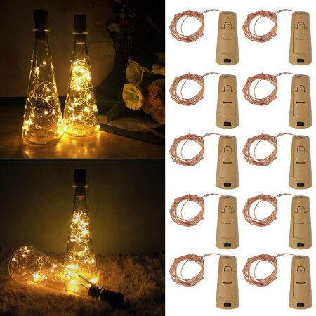 10 PCS LED Wine Bottle Lights Cork Shaped Bottle Stopper Lamp Super Bright Night Light Christmas Party Wedding Decoration