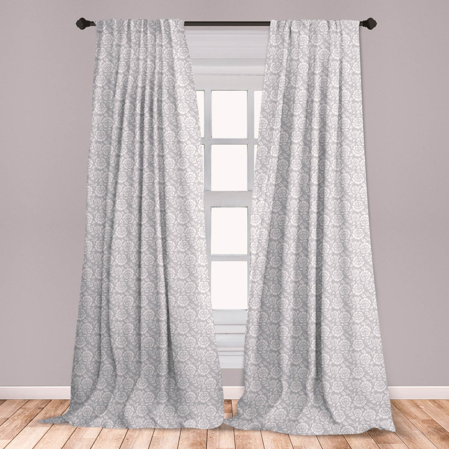 Grey Curtains 2 Panels Set Floral Flower Buds Leaves Pattern English Country Style Victorian Lace Image Print Window Drapes For Living Room Bedroom Grey White By Ambesonne Walmart Com Walmart Com