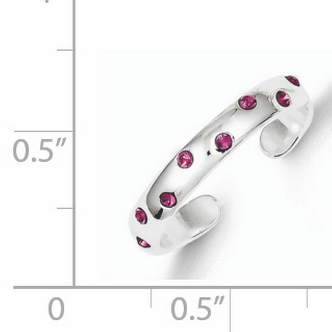 925 Sterling Silver Pink Cubic Zirconia Toe Ring - image 1 de 2
