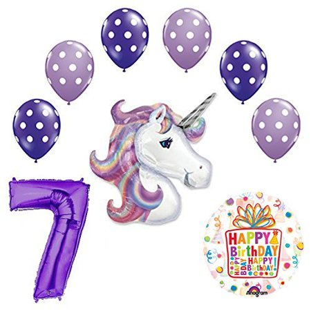 Lavender Unicorn Polka Dot Latex Rainbow 7th Birthday Party Balloon - Rainbow Polka Dots