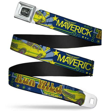 Ford Emblem Vintage Ford Maverick Run Wild Be A Maverick Blues Yellows Seatbelt Belt - Ford Maverick