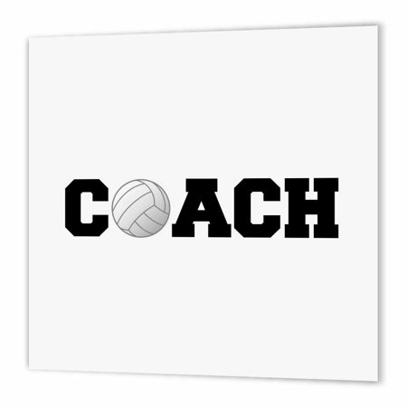 3dRose coach, black letters with volleyball on white background, Iron On Heat Transfer, 6 by 6-inch, For White Material