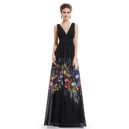 Ever Pretty Womens V Neck Black Long Lady Formal Evening Gown