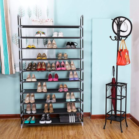 10 Unit Dispenser Rack - Zimtown 10 Tiers Shoe Rack 50 Pairs Non-woven Fabric Shoe Tower Organizer Cabinet Black