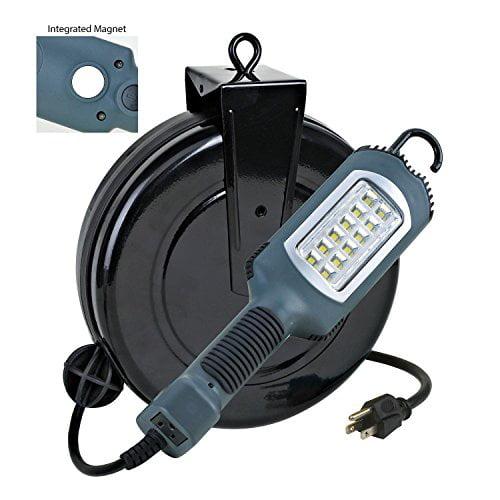 Case of 4 LED Cord Retractable Reel Shop Repair Work Light 1000 Lumens 5030AHS