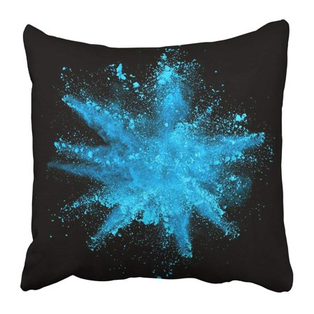 BPBOP White Paint Explosion of Blue Powder on Black Color Dust Burst Smoke Ink Explode Launched Pillowcase Pillow Cushion Cover 20x20 inch (Powder Blue Pillowcases)