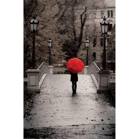 Canvas Wall Art Black White With Red Umbrella 215 X 325