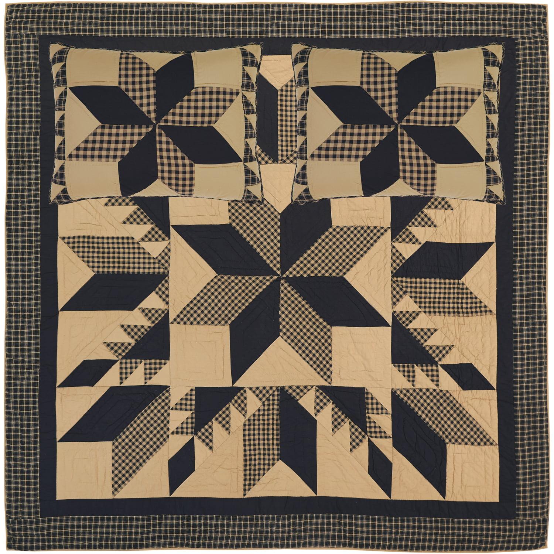 VHC Brands Primitive Bedding Kettle Grove Cotton Pre-Washed Patchwork Sham California King Quilt Set 51733