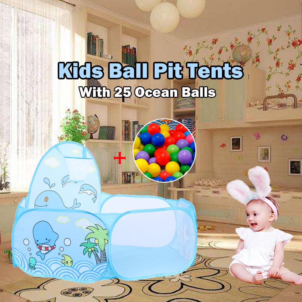 Kids Ball Pool with Basketball Hoop and Zippered Storage Bag With 25 Balls