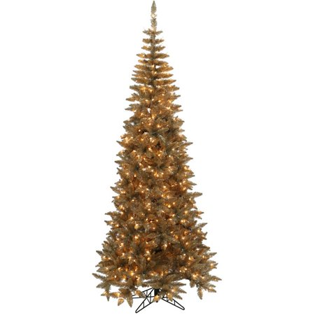 vickerman pre lit 75 tinsel antique champagne fir artificial christmas tree clear lights