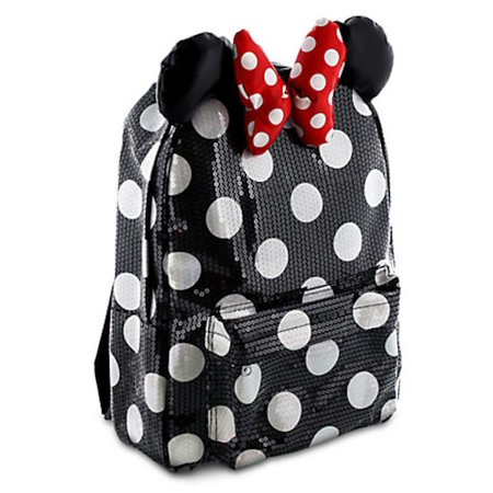Disney Parks Minnie Mouse Black Dot Sequin Backpack Bookback Bow New for $<!---->