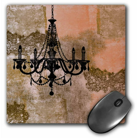 3dRose Peach Antique Chandelier Vintage Art, Mouse Pad, 8 by 8 inches