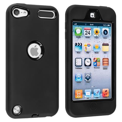 Insten Hybrid Case For Apple iPod touch 6 6th 5 5th Gen, Black Hard/ Black Skin