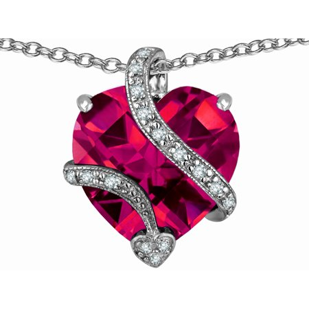 Star K Large 15Mm Heart Shape Created Ruby Love Pendant Necklace In Sterling Silver