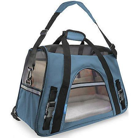 We Offer Pet Carrier Soft Sided Large Cat   Dog Comfort Mineral Blue Bag Travel Approved  Istilo232206