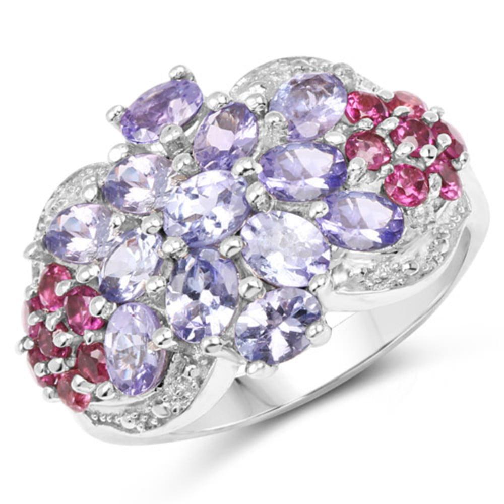 Genuine Oval Tanzanite and Rhodolite Garnet Ring in Sterling Silver Size 8.00 by Bonyak Jewelry
