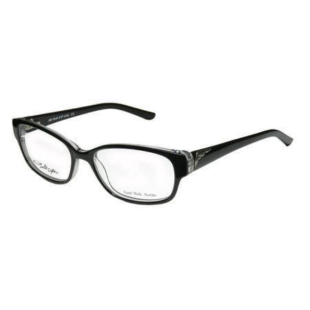 - New Smith Optics Mystic Womens/Ladies Designer Full-Rim Black / Clear Hand Made Modern Acetate Frame Demo Lenses 53-16-130 Spring Hinges Eyeglasses/Eyeglass Frame