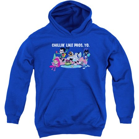 Teen Titans Go Like Pros Yo Kids Hooded Sweatshirt Royal Blue Small