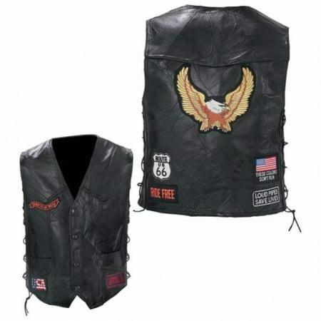 Diamond Plate™ Rock Design Genuine Buffalo Leather Biker Vest - Large - GFVBIKEL