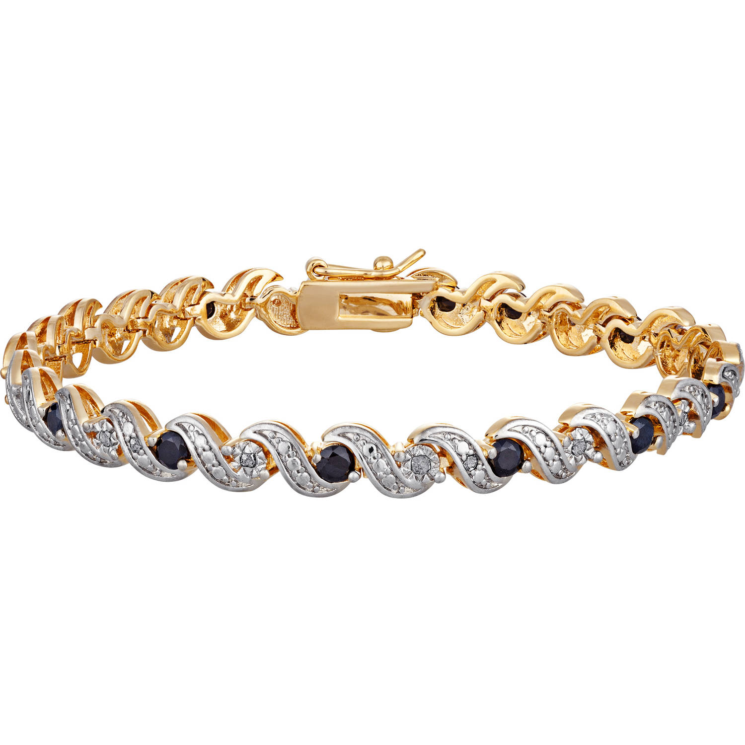 "Gold Plated Diamond Accent & Sapphire Bracelet, 8"" by Generic"