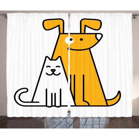 Cartoon Curtains 2 Panels Set, Cats and Dogs Human Best Friends Forever Kids Nursery Room Art Print, Window Drapes for Living Room Bedroom, 108W X 108L Inches, Black White and Apricot, by