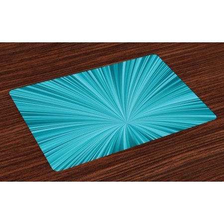 Teal Placemats Set of 4 Abstract Vortex Design with Fireworks Celebration Stylized Monochrome Artwork, Washable Fabric Place Mats for Dining Room Kitchen Table Decor,Turquoise Teal, by Ambesonne ()