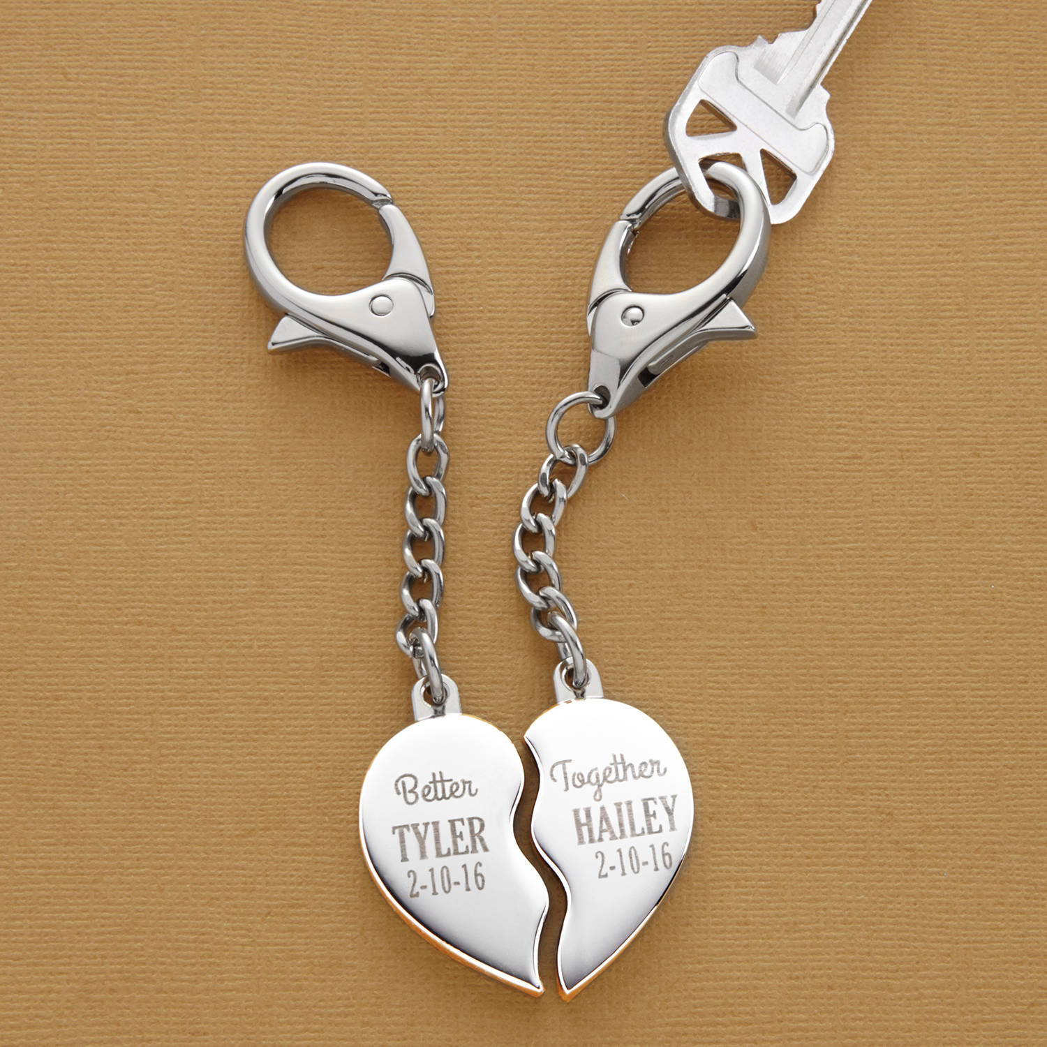 Personalized Better Together Heart Key Chain