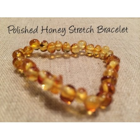 Polished Honey Stretch Baltic Amber Bracelet for Baby, Infant, - Amber Polished Edge