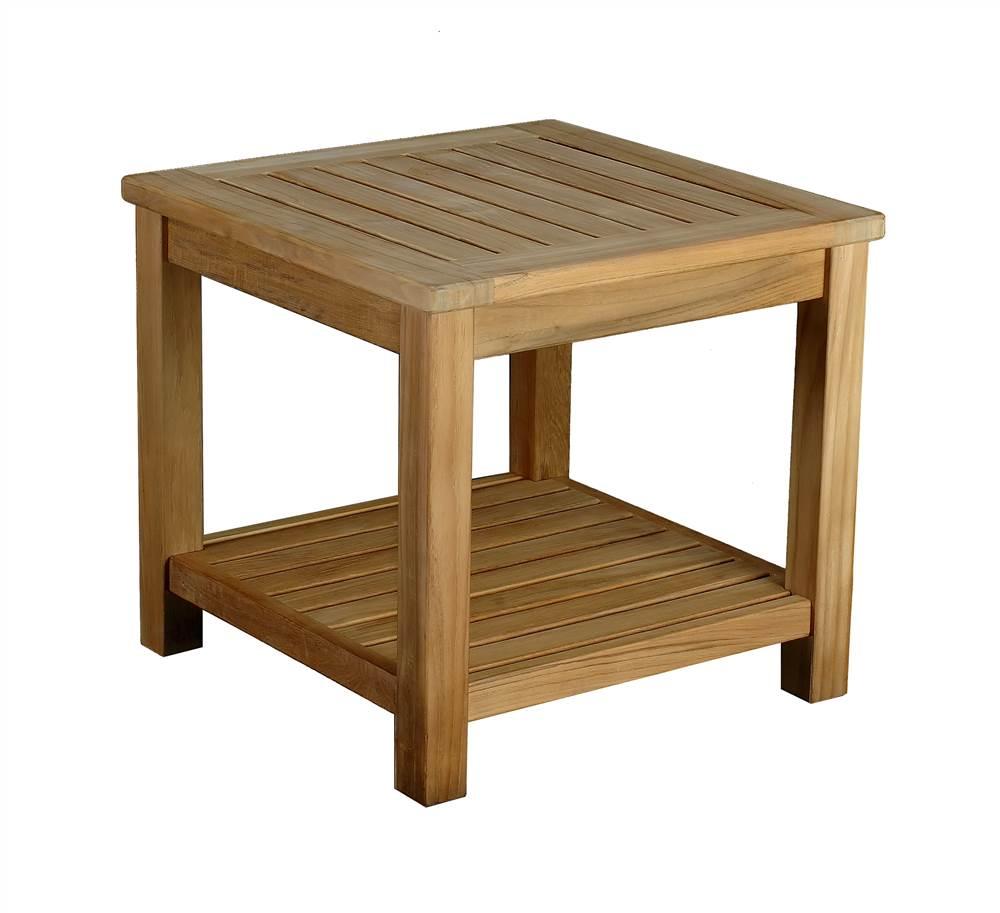 Square Solid Teak End Table w Lower Shelf - Bristol