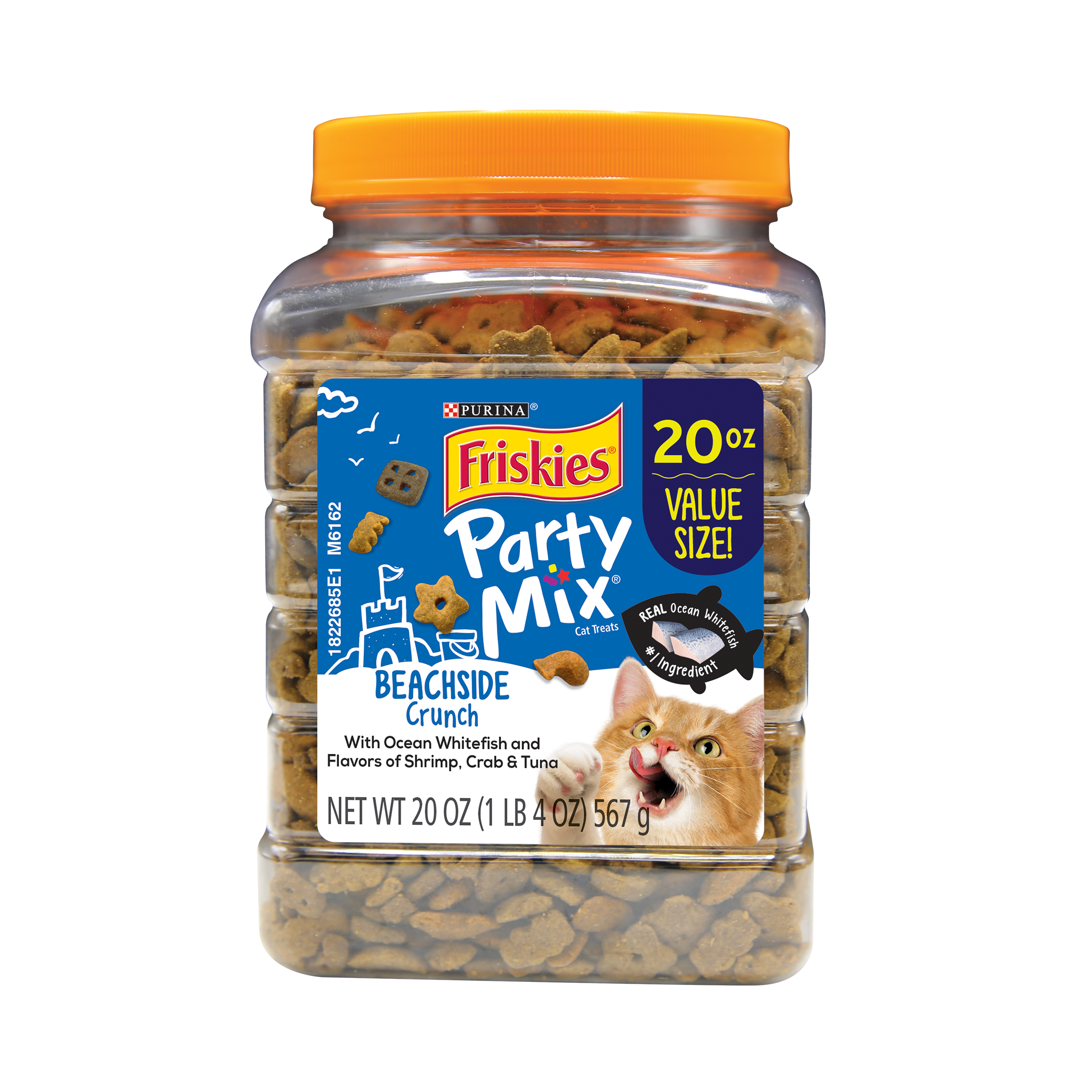 Purina Friskies Party Mix Beachside Crunch Adult Cat Treats, 20 oz. Canister