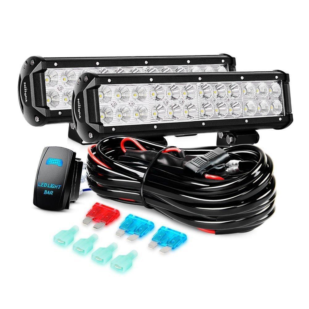 Nilight LED Light Bar 2PCS 12 Inch 72W Spot Flood Combo Led Off Road Lights 12V 5Pin Rocker Switch LED Light Bar Wiring Harness Kit , 2 Years Warranty
