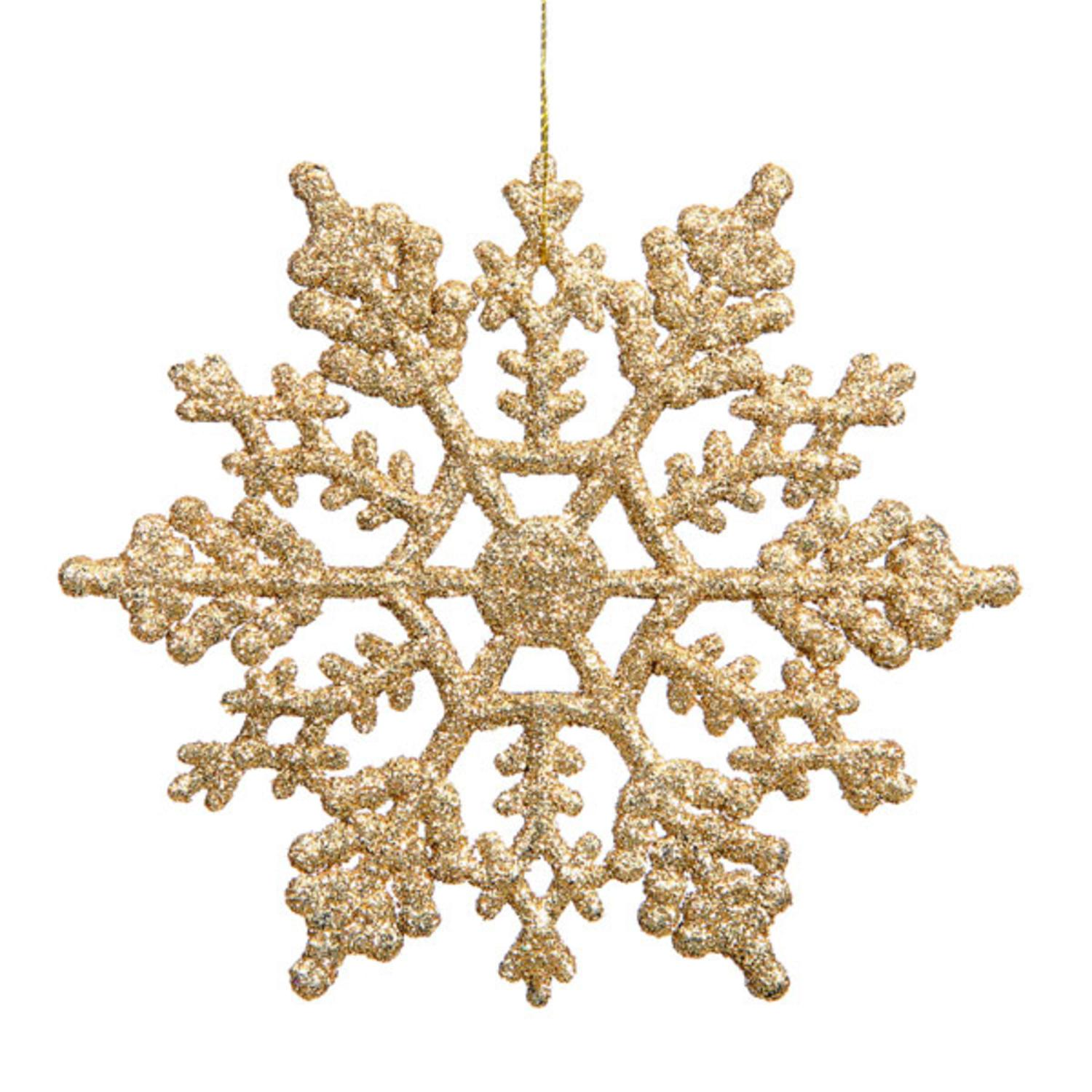 Club Pack of 24 Shimmering Gold Glitter Snowflake Christmas Ornaments 3.75""