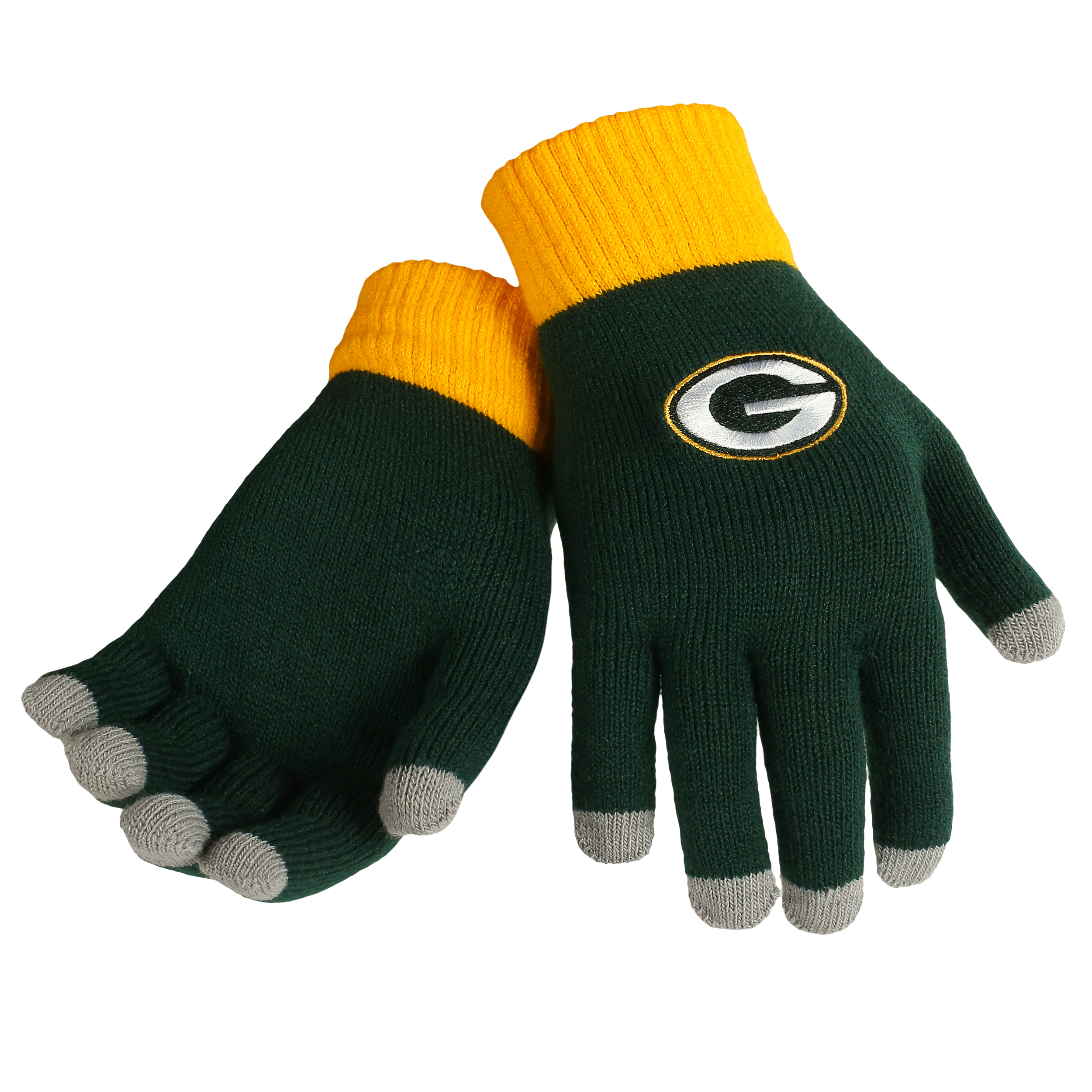 Green Bay Packers Official NFL Glove Solid Outdoor Winter Stretch Knit by Forever Collectibles 240129 by Forever Collectibles