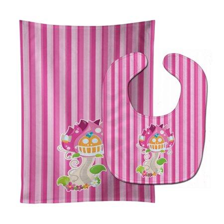 Fairy House Pink Stripes Baby Bib & Burp Cloth BB6907STBU