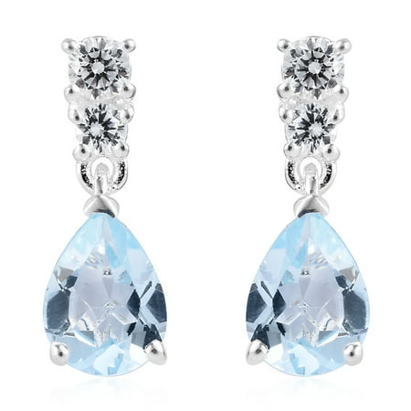 925 Sterling Silver Pear Sky Blue Topaz Cubic Zirconia CZ Dangle Drop Earrings for Women Cttw 2.4 Jewelry Gift ()