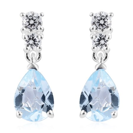 925 Sterling Silver Pear Sky Blue Topaz Cubic Zirconia CZ Dangle Drop Earrings for Women Cttw 2.4 Jewelry Gift