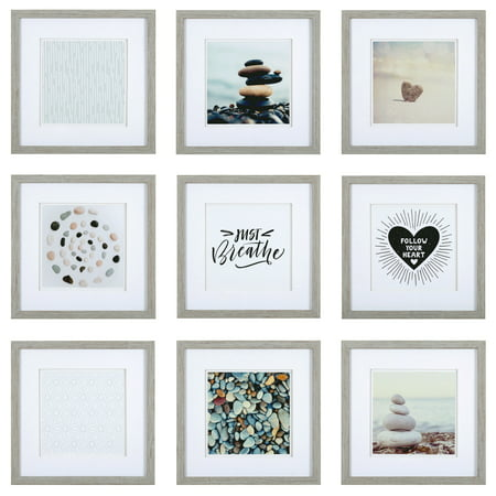 Set of 9 Piece Gray Square Photo Frames with Double White Mat Wall Gallery Kit. Includes: Hanging Template, Art Prints and Hanging - Framed Art Gallery